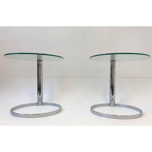 John Mascheroni Pair of Chrome and Glass Side Tables by John Mascheroni for Swaim For Sale - Image 4 of 10