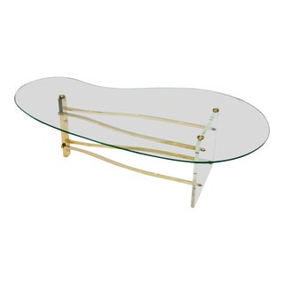 Charles Hollis Jones Coffee Table in Brass and Lucite