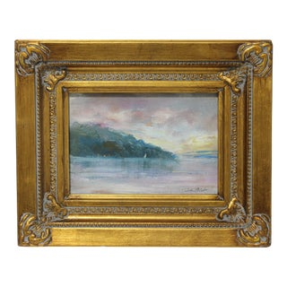 "Vintage Oil Painting ""Nyack the Hook on Hudson River"" John Elliot, Opa For Sale"