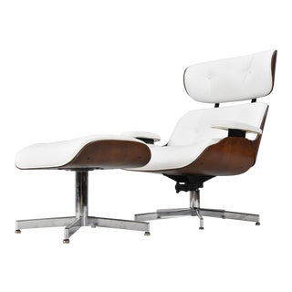 Mid-Century Eames Style Lounge Chair & Ottoman For Sale