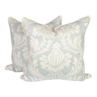 Light Blue and Ivory Baroque Linen Pillows, a Pair For Sale
