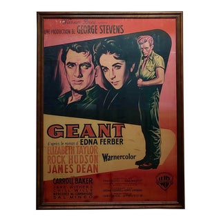 Giant -James Dean,Rock Hudson E. Taylor Original 1956 French Movie Poster For Sale