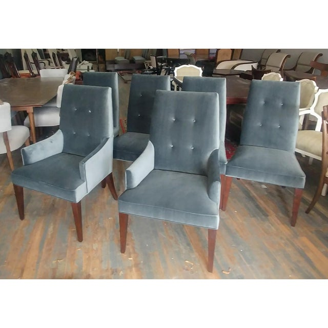 Mid-Century Modern Henredon Furniture Barbara Barry Slate Grey Velvet Dining Chairs - Set of 6 For Sale - Image 12 of 12