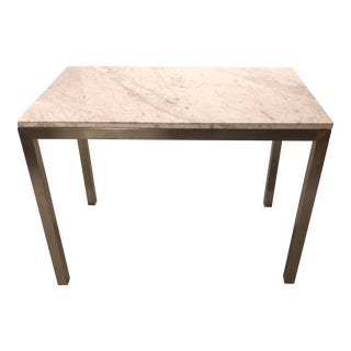 Contemporary Stainless Steel and Marble Parsons Dining Table For Sale