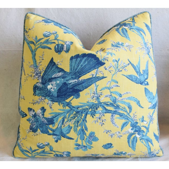 """Early 21st Century Designer Blue & Yellow Bird and Butterflies Feather/Down Pillows 21"""" Square - Pair For Sale - Image 5 of 13"""