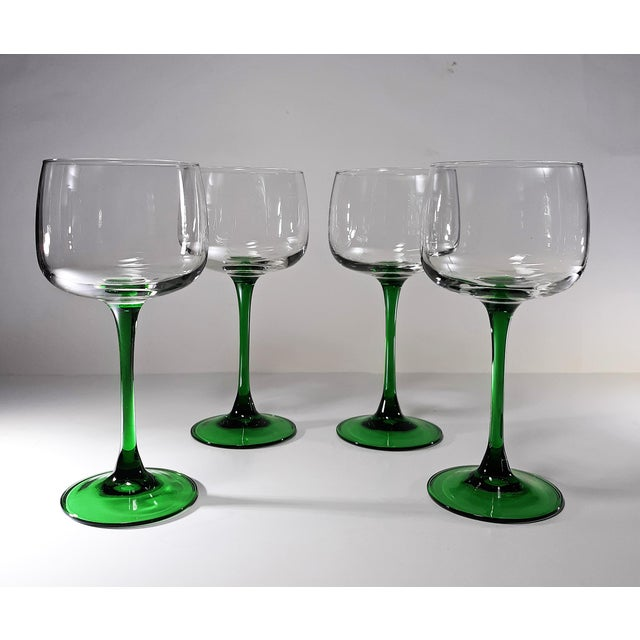 Mid-Century Modern Vintage French Green Stem Wine Glasses - Set of 4 For Sale - Image 3 of 7