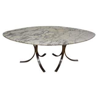 Italian Marble & Steel Dining Table For Sale