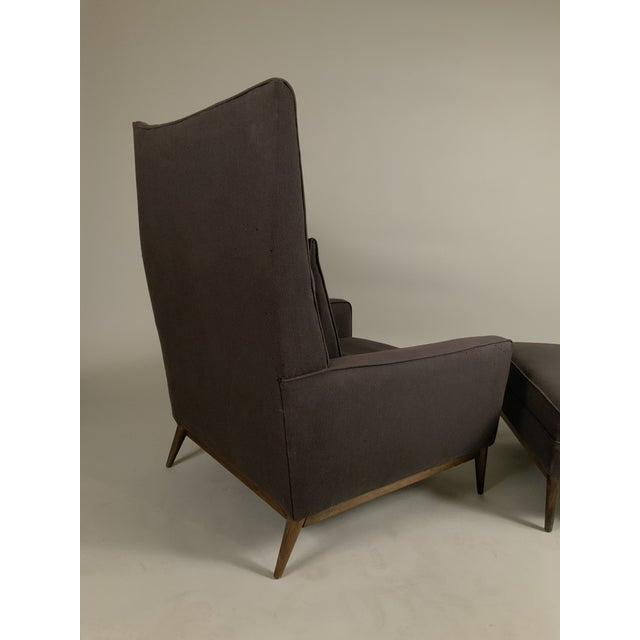 Black 1950s Paul McCobb for Directional High Back Lounge Chair and Ottoman For Sale - Image 8 of 10