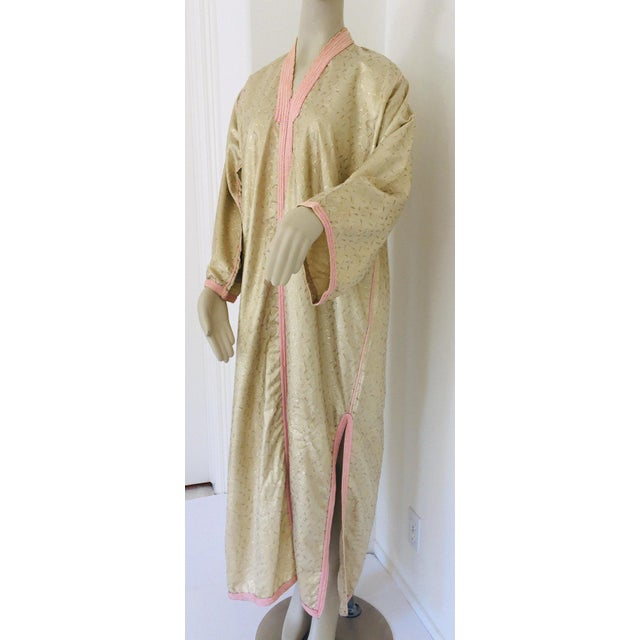 Late 20th Century 1970s Metallic Gold Moroccan Caftan, Kaftan Maxi Dress North Africa, Morocco For Sale - Image 5 of 13