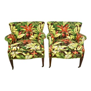 1950s Tropical Barkcloth Style Arm Chairs- A Pair For Sale