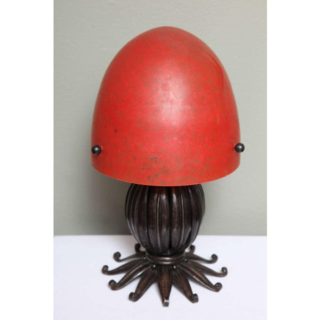Louis Katona French Wrought Iron and Glass Table Lamp For Sale - Image 4 of 8