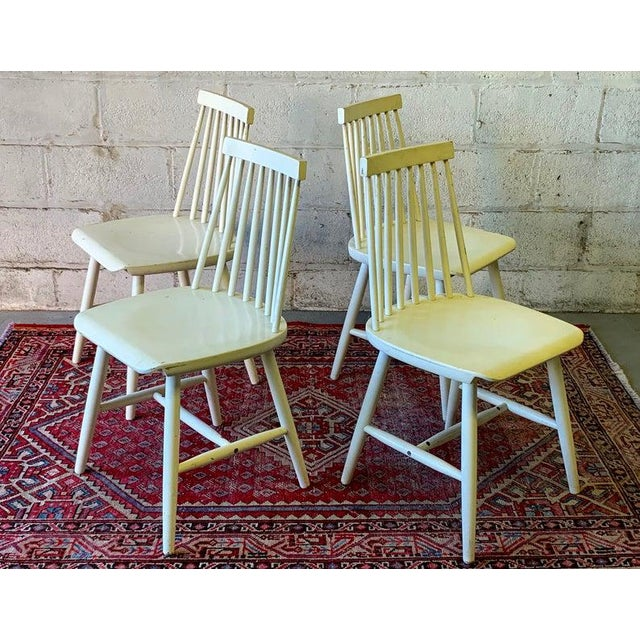 Wood Mid Century Modern Spindle Back Dining Chairs - Set of 4 For Sale - Image 7 of 9