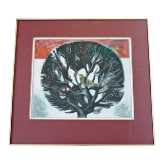 "1960s Mid-Century Modern ""Bird in Tree"" Framed Drawing Signed Aldo Londino For Sale"