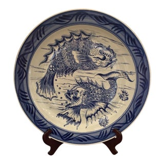 Huge Antique Chinese Blue & White Pottery Round Fish Platter For Sale