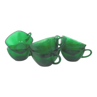 Anchor Hocking Vintage Forest Green Glass Punch Cups - Set of 6