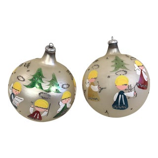 Hand Painted Italian Angel Ornaments - A Pair For Sale