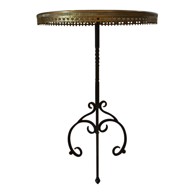 Italian Wrought Iron Base & Marble Top Bistro Table - Image 1 of 6