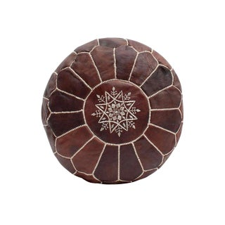 Moroccan Modern Chocolate Pouf For Sale