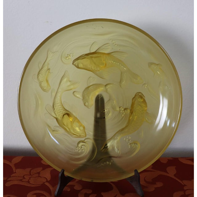 20th Century Art Deco Verlys Glass French Plate in Amber Colored With Fishes For Sale - Image 9 of 11