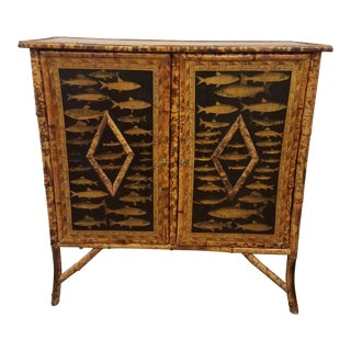 Asian Style Decoupaged Fish Bamboo Storage Cabinet For Sale