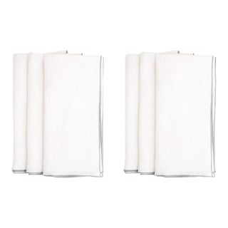 White with Gray Trim Linen Napkin - Set of 6 For Sale