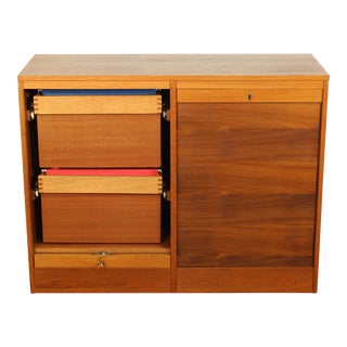 1970s Danish Modern Teak Tambour Filing Cabinet For Sale