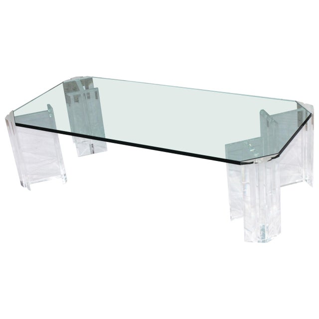 1970s Modern Lucite Coffee Table For Sale - Image 9 of 9
