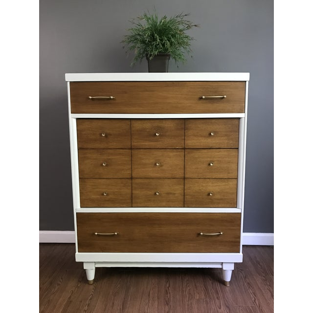 Mid-Century Modern Two-Tone Mid-Century Modern Highboy Dresser For Sale - Image 3 of 11