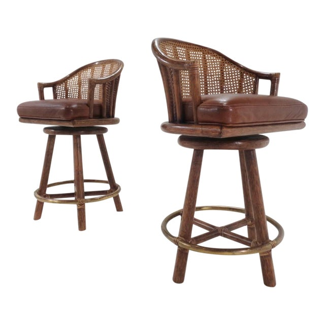 Vintage McGuire Organic Modern Bamboo & Leather Swivel Barstools ~ a Pair For Sale