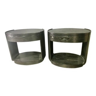 Contemporary McGuire Barbara Barry Ebony Baker Oval Nightstands - a Pair For Sale