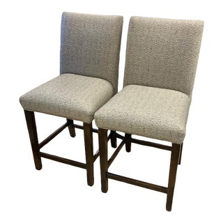 Bermex Upholstered Bar Stools- a Pair Showroom Sample For Sale