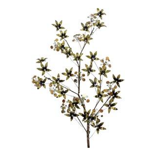 Contemporary Modern Curtis Jere Brass Wall Sculpture Flowers Raindrop 1980 For Sale