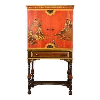 Chinoiserie Red Lacquer Gold Gilt Bar Cabinet on Stand For Sale