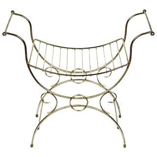 1960s Gilt Metal Vanity Seat For Sale