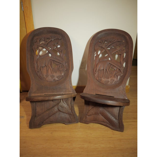 Red 20th Century African Bantu Tribe Carved Two-Board Tribal Chief Chairs - a Pair For Sale - Image 8 of 8
