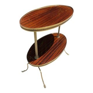1950s Mid Century Modern Lacquered Mahogany Two Tier Dessert Table For Sale