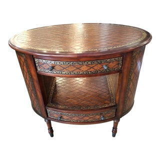 Theodore Alexander Essential Mahogany & Embossed Leather Center Table For Sale