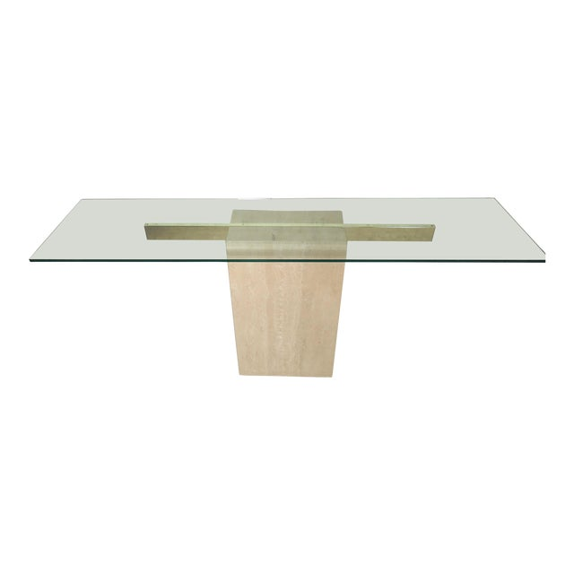 Elegant Travertine Console Table by Artedi For Sale