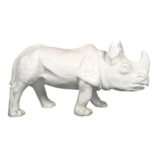 1970s Large White Glazed Terracotta Rhino
