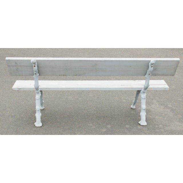 Quality Cast Iron Faux Bois Garden Park Bench For Sale - Image 4 of 13