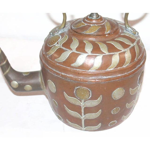 Mid 19th Century Early 19th Century Spanish Decorated Copper Gooseneck Kettle Pot For Sale - Image 5 of 6