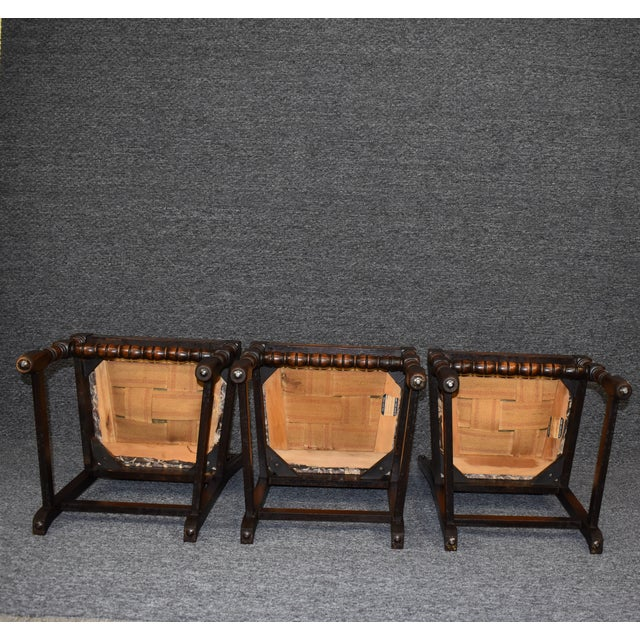 Vintage Solid Carved Dark Oak Jacobean Chairs- Set of 6 For Sale - Image 10 of 11