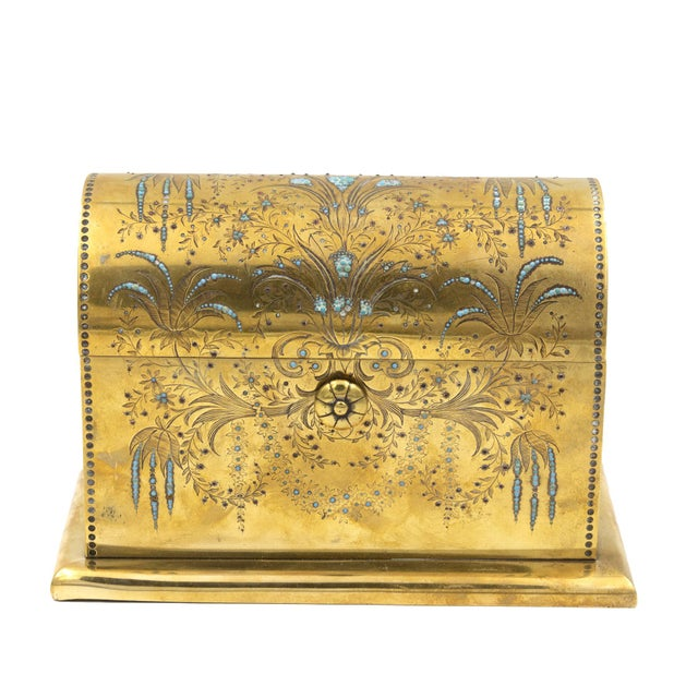 Rare Solid Brass Stationery Box Inlaid With Turquoise and Garnets, France, Circa 1860. For Sale - Image 11 of 11