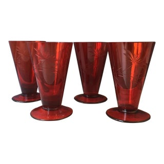 1950s Etched Red Glass Cocktail Glasses For Sale
