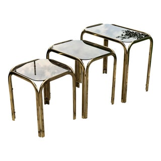 1980s Dia Brass Nesting Tables - Set of 3 For Sale