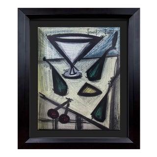 "Bernard Buffet Original ""Martini Still Life"" Lithograph Limited Edition in Custom Frame For Sale"