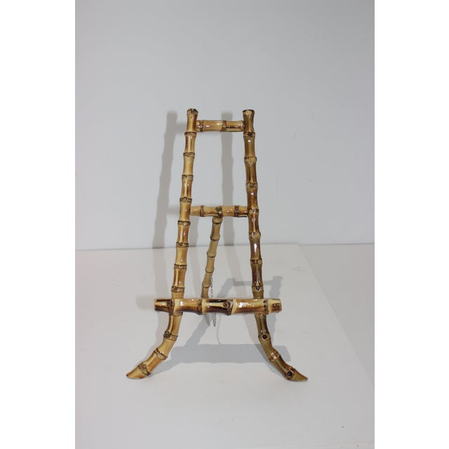 Charming pre-owned tabletop bamboo display easel. As a handcrafted item, it shows a naif organic structure. Size when...