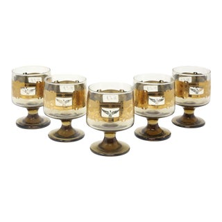 1970's Gold Eagle Glassware Whiskey Snifters - Set of 5 For Sale