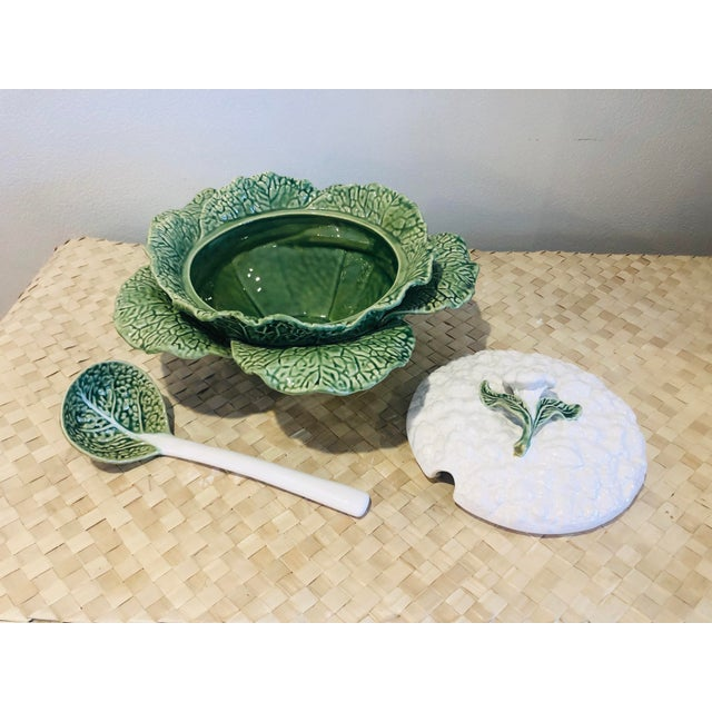 Majolica Cauliflower and Cabbage Design Soup Tureen For Sale In West Palm - Image 6 of 8
