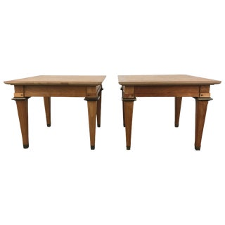 Stunning Burl and Brass Occasional Tables by Mastercraft - A Pair For Sale